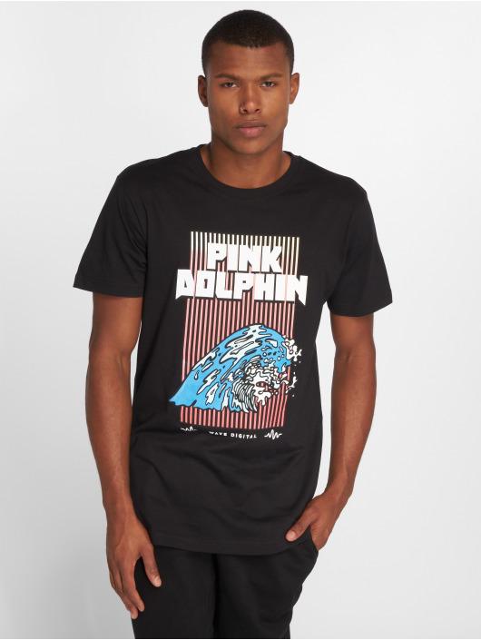 Pink Dolphin T-Shirt Digital Waves noir