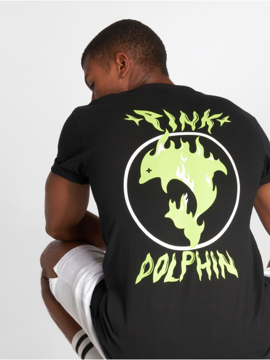 Pink Dolphin T-Shirt Aqua Flame schwarz