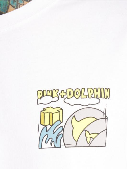 Pink Dolphin T-Shirt Level Up weiß