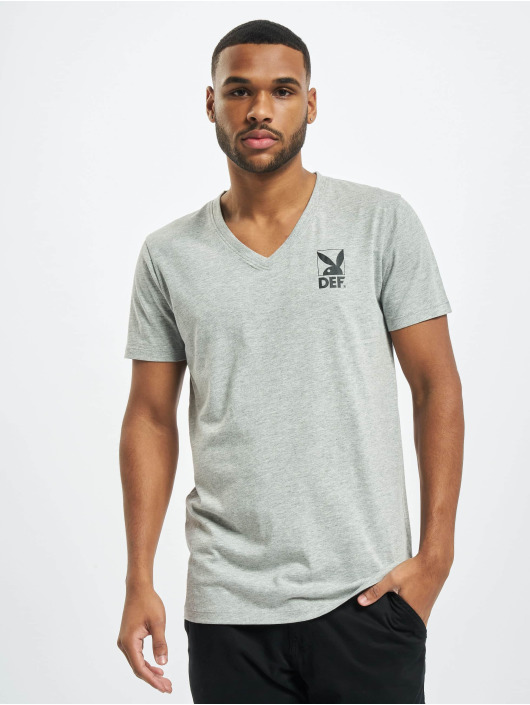 Playboy x DEF T-Shirt V-Neck grau