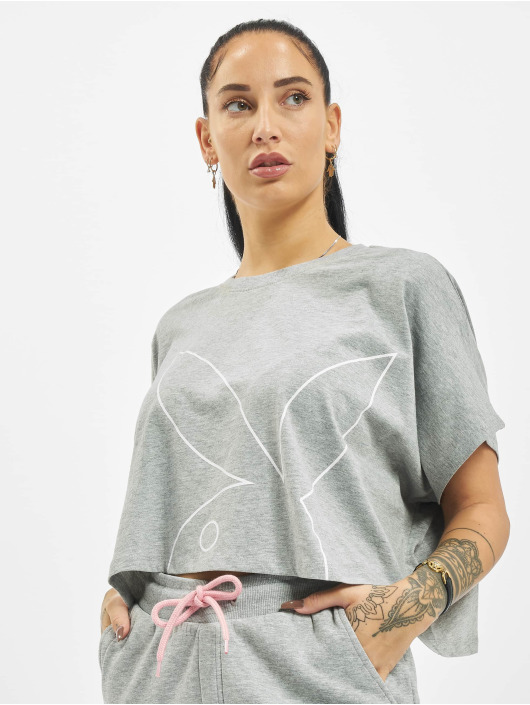 Playboy x DEF T-Shirt Cropped grau