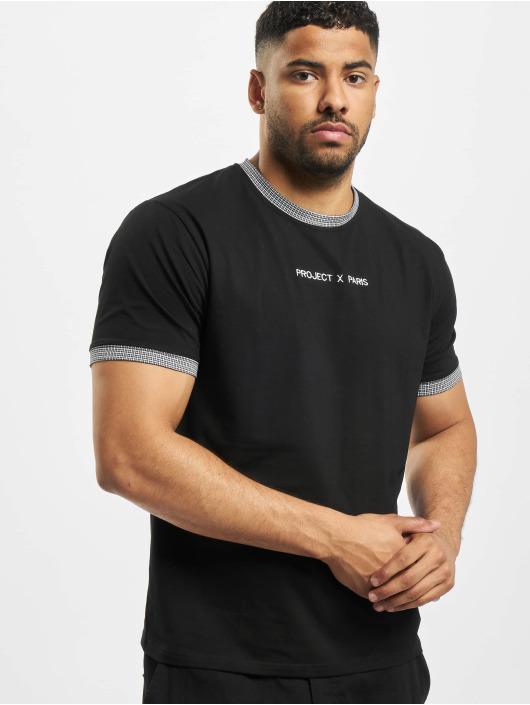 Project X Paris Camiseta Checked Sleeves negro
