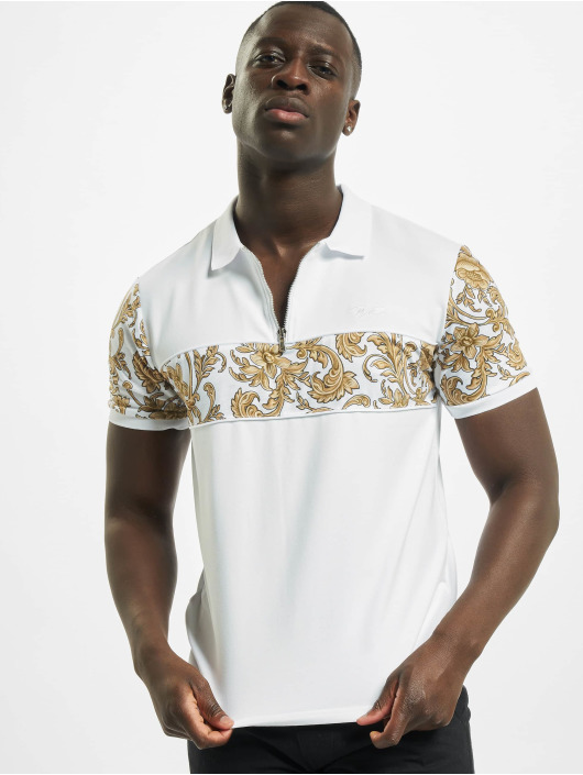 Project X Paris Camiseta polo Zip-Neck Baroque Style blanco