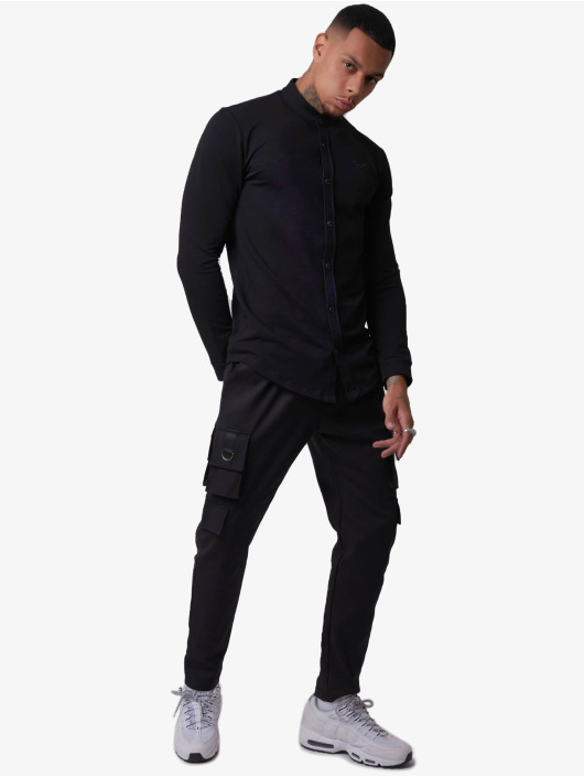 Project X Paris Hemd Mao Neck Basic schwarz