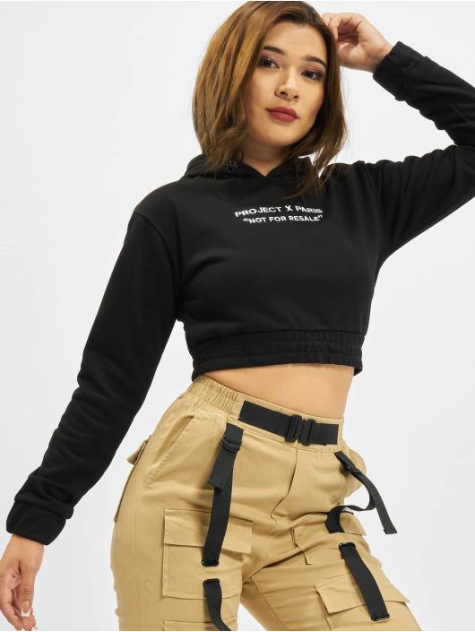 Project X Paris Hoodies Pull-on Fleece Crop čern