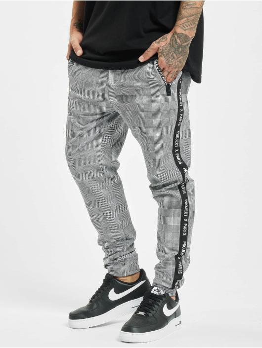 Project X Paris Jogging kalhoty Logo Zip Check Pattern čern
