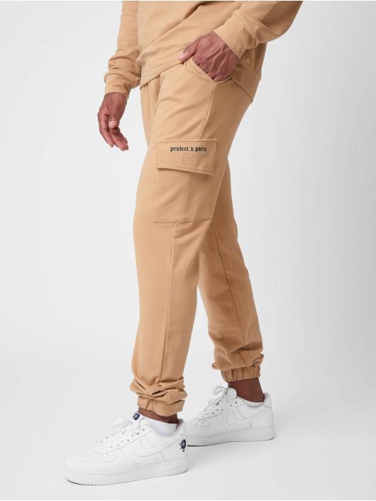 Project X Paris Jogging kalhoty Gothic print Pocket hnědý