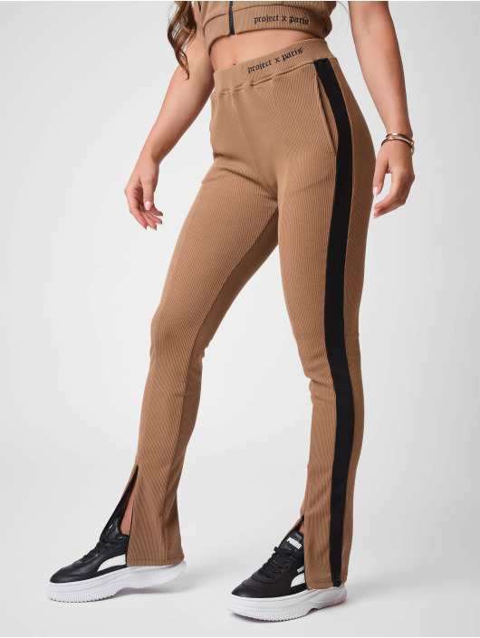 Project X Paris Jogging kalhoty Ribbed Skinny flare hnědý