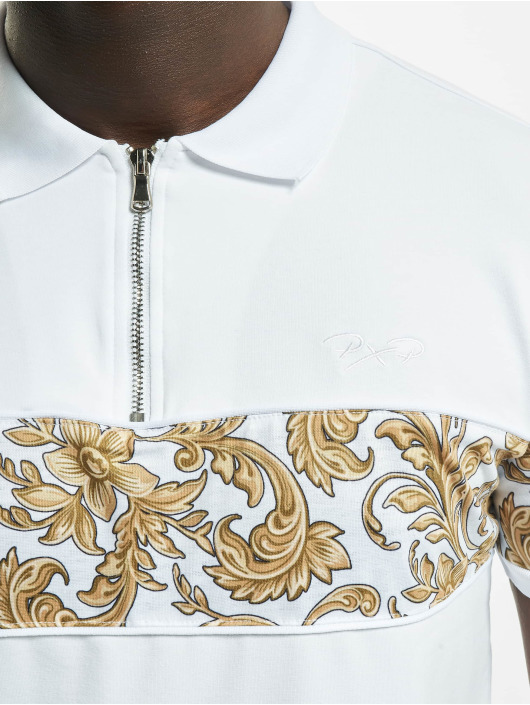Project X Paris Polo trika Zip-Neck Baroque Style bílý