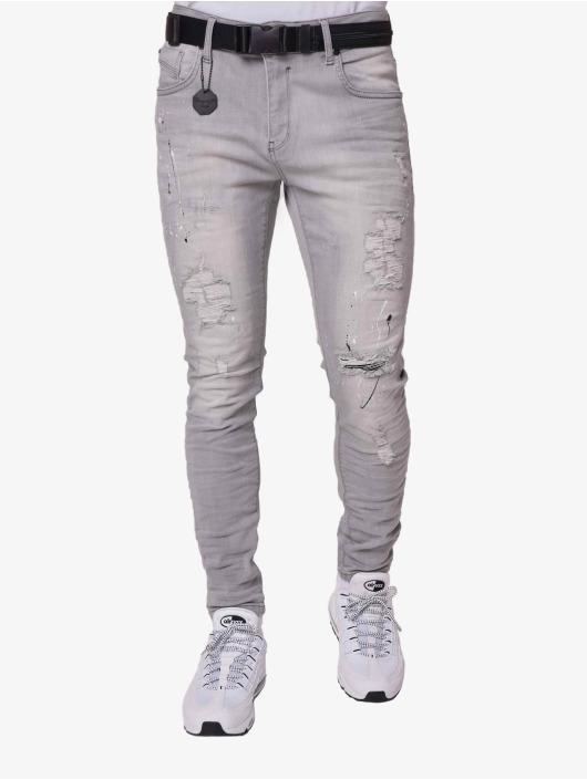 Project X Paris Skinny Jeans Splatter szary