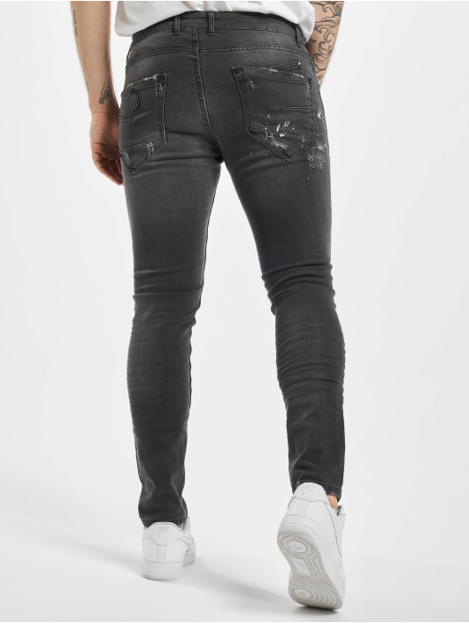 Project X Paris Slim Fit Jeans Worn Effecr èierna