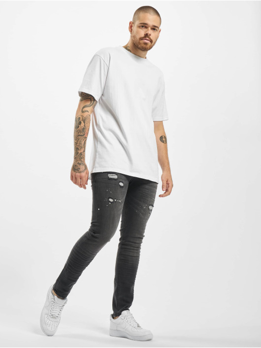 Project X Paris Slim Fit Jeans Worn Effecr schwarz