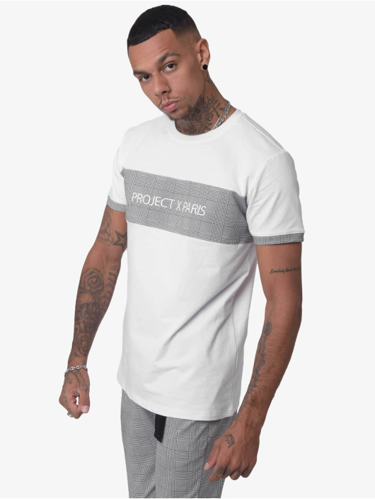 Project X Paris T-Shirt Checked Panel blanc
