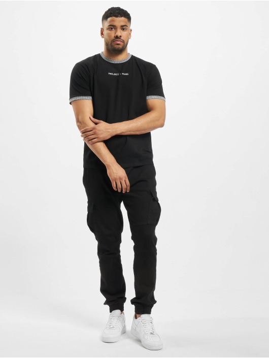 Project X Paris T-Shirt Checked Sleeves schwarz