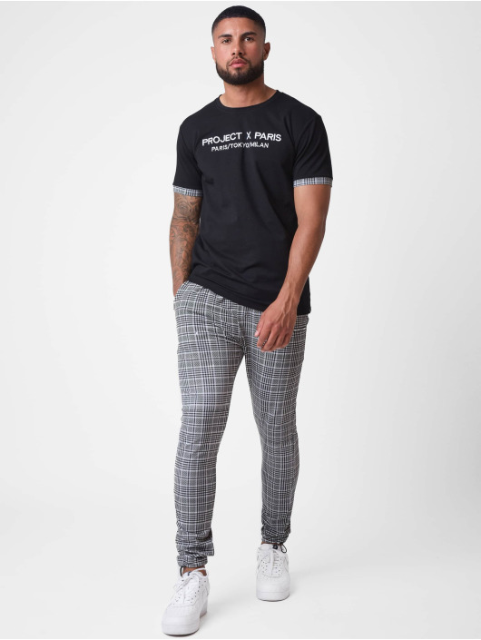 Project X Paris T-shirt Embroidery Checkered Lapel svart