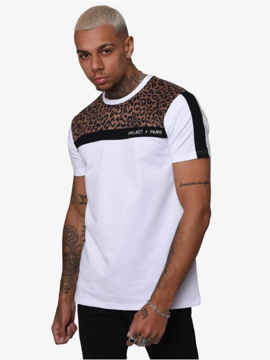 Project X Paris T-Shirt Leopard Print Panels weiß