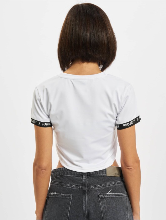 Project X Paris T-Shirt Logo Stripe Crop weiß