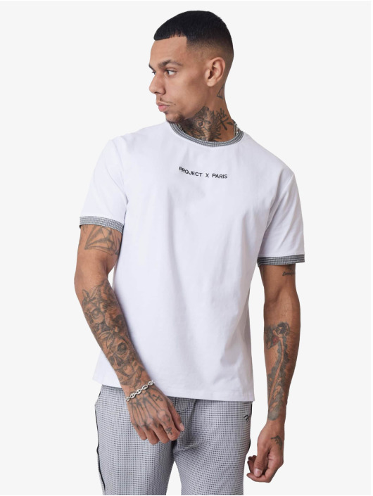 Project X Paris T-Shirt Checked Sleeves weiß