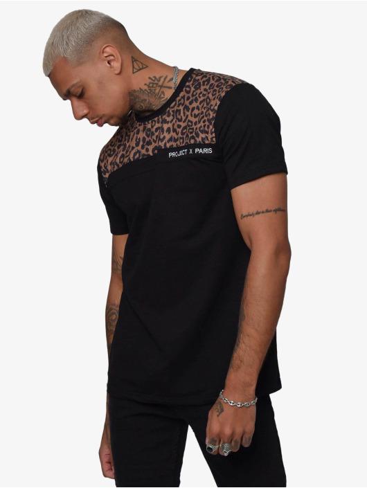 Project X Paris t-shirt Leopard Print Panels zwart