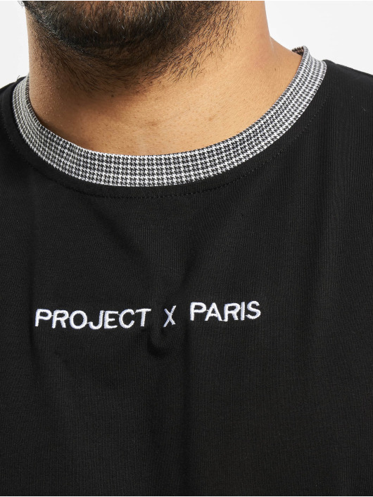 Project X Paris t-shirt Checked Sleeves zwart