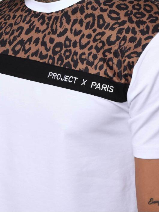Project X Paris T-Shirty Leopard Print Panels bialy
