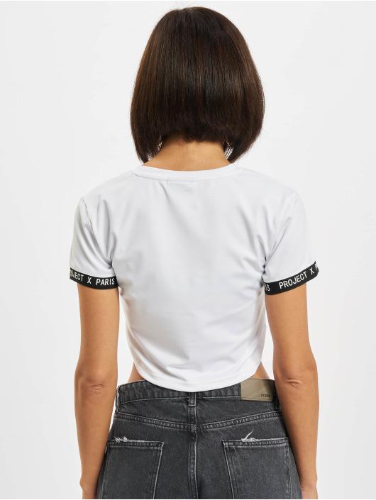 Project X Paris T-Shirty Logo Stripe Crop bialy