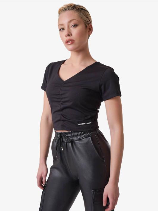 Project X Paris T-skjorter V-neck Cropped svart