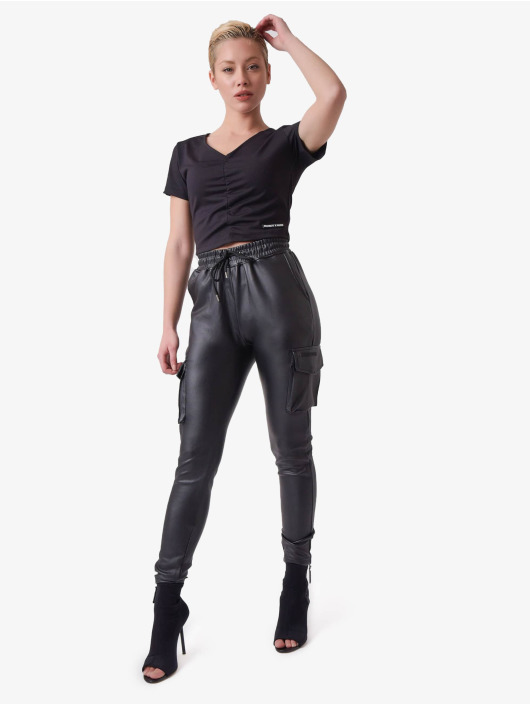 Project X Paris T-skjorter V-neck Cropped svart