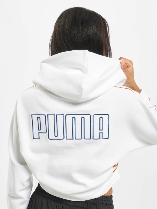 Puma Bluzy z kapturem Colour Block Cropped bialy