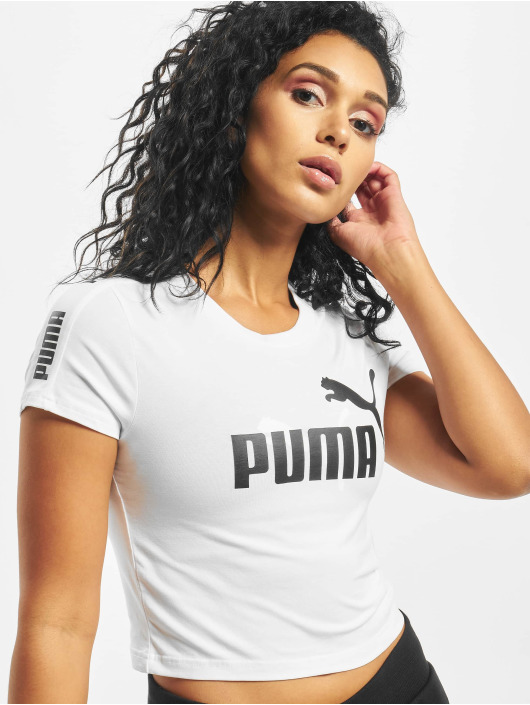 Puma T-Shirt Amplified Logo Fitted blanc