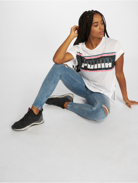 Puma T-Shirty Rebel Boyfriend Logo bialy