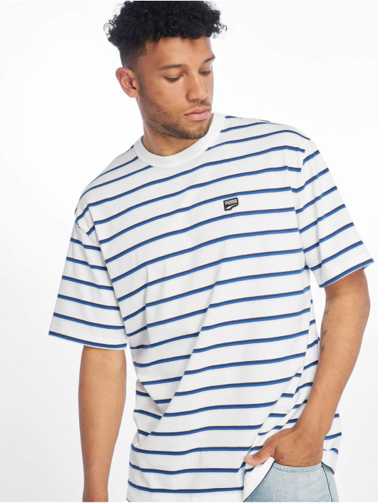 Puma T-Shirty Downtown Stripe bialy