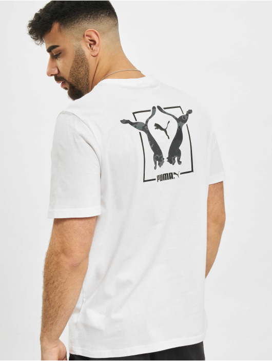 Puma T-Shirty Classics Graphics Infill bialy