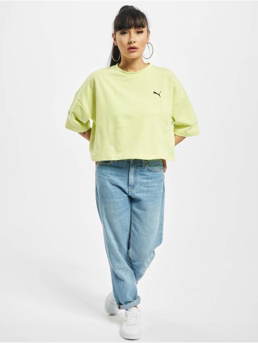 Puma T-Shirty Evide Form Stripe Crop zólty