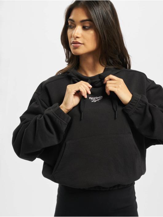 Reebok Bluzy z kapturem QQR Crop czarny