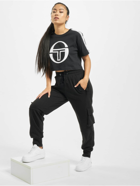 Sergio Tacchini T-Shirt Romina Cropped Logo Tape noir