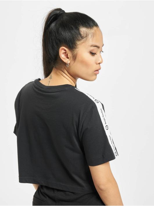 Sergio Tacchini T-Shirty Romina Cropped Logo Tape czarny