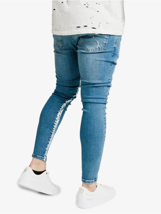 Sik Silk Úzke/Streč Skinny Distressed Paint Stripe modrá