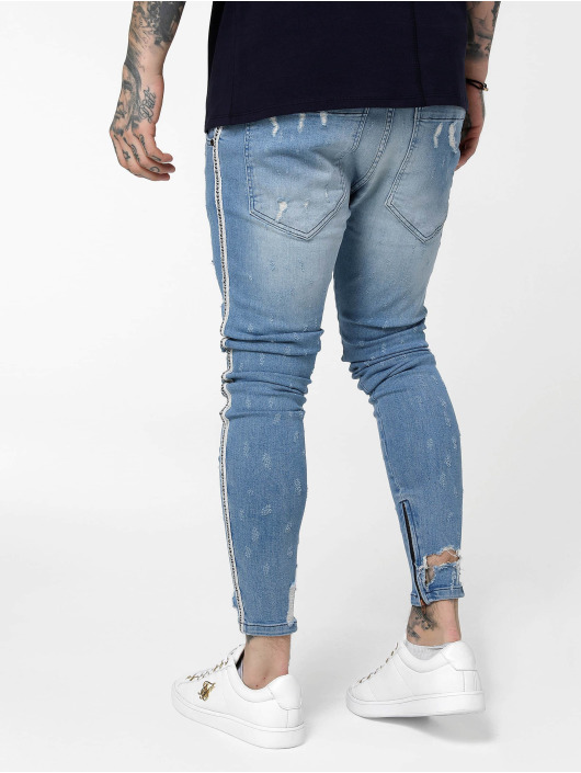 Sik Silk Облегающие джинсы Low Rise синий