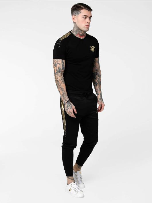 Sik Silk Спортивные брюки Cuffed Cropped Fade Panel черный