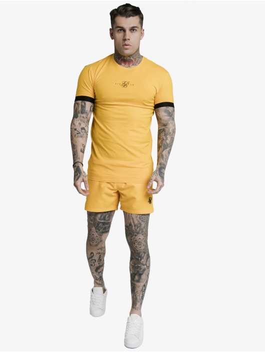 Sik Silk Футболка Inset Elastic Cuff Gym желтый
