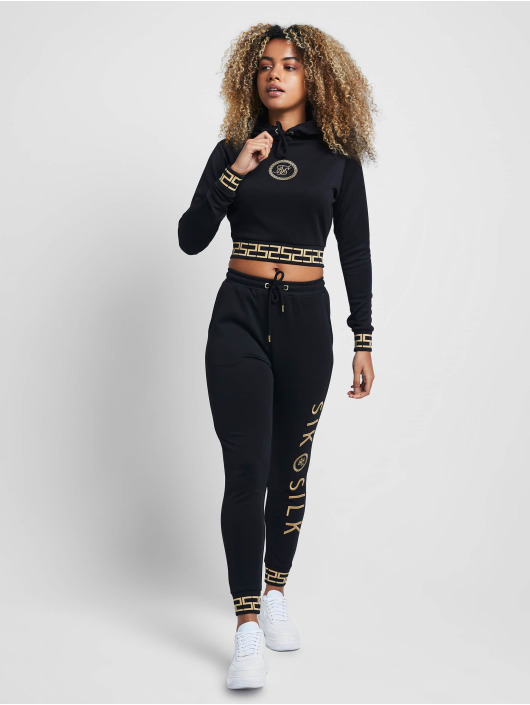Sik Silk Bluzy z kapturem Luxury Cropped Poly czarny