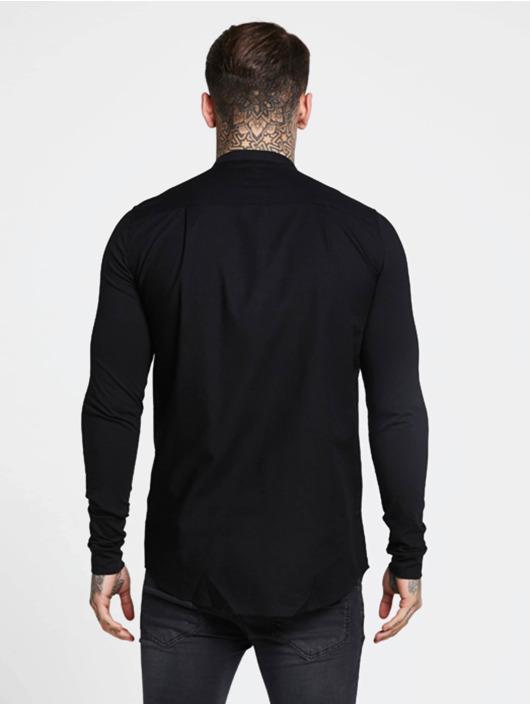 Sik Silk Chemise Grandad Collar Jersey noir