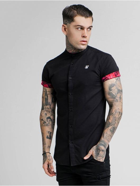 Grandad Collar 620960 Noir Silk Sik Roll Chemise Homme Sleeve HIEWD92