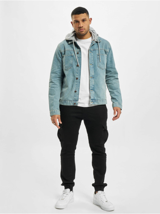 Sik Silk Denim Jacket Hooded blue