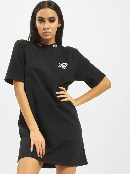 Sik Silk Dress Tape Neck Box Fit black