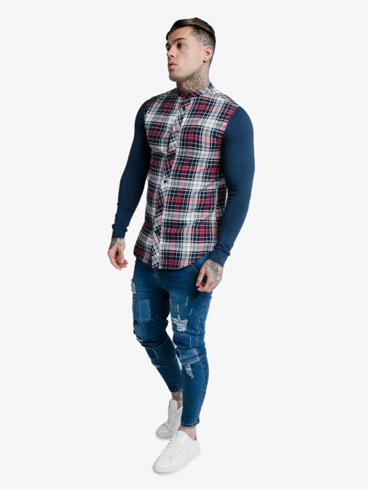 Sik Silk Hemd Flannel Check Grandad blau