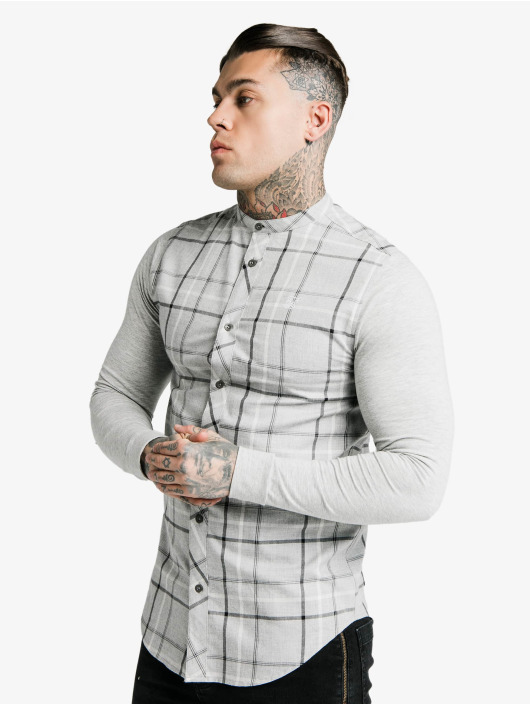 Sik Silk Hemd Flannel Check Grandad grau
