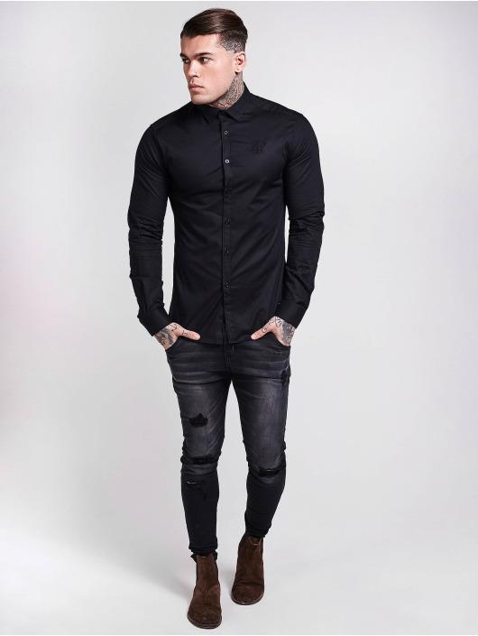 Sik Silk Hemd Cotton Stretch schwarz