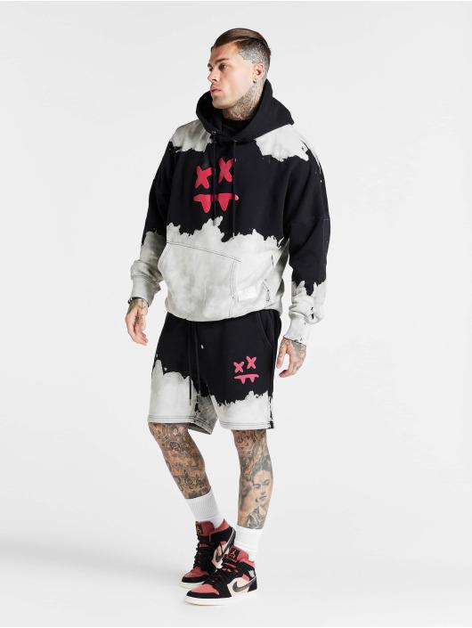 Sik Silk Hoodie X Steve Aoki Oversized Bleach Wash black